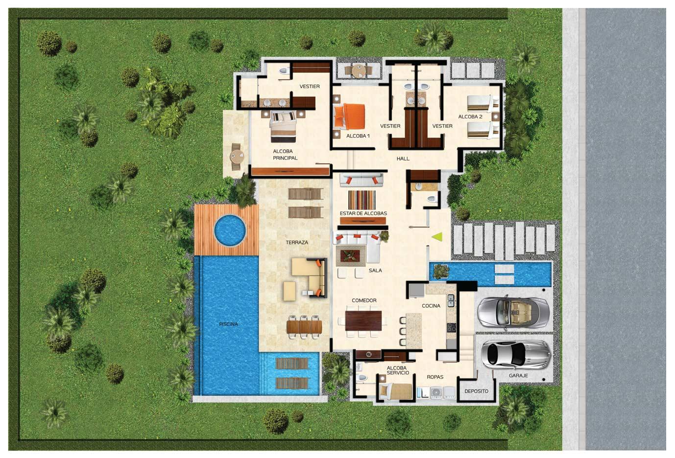 Planta de casa de campo plano de casa para construir en for Planos de casas de campo modernas